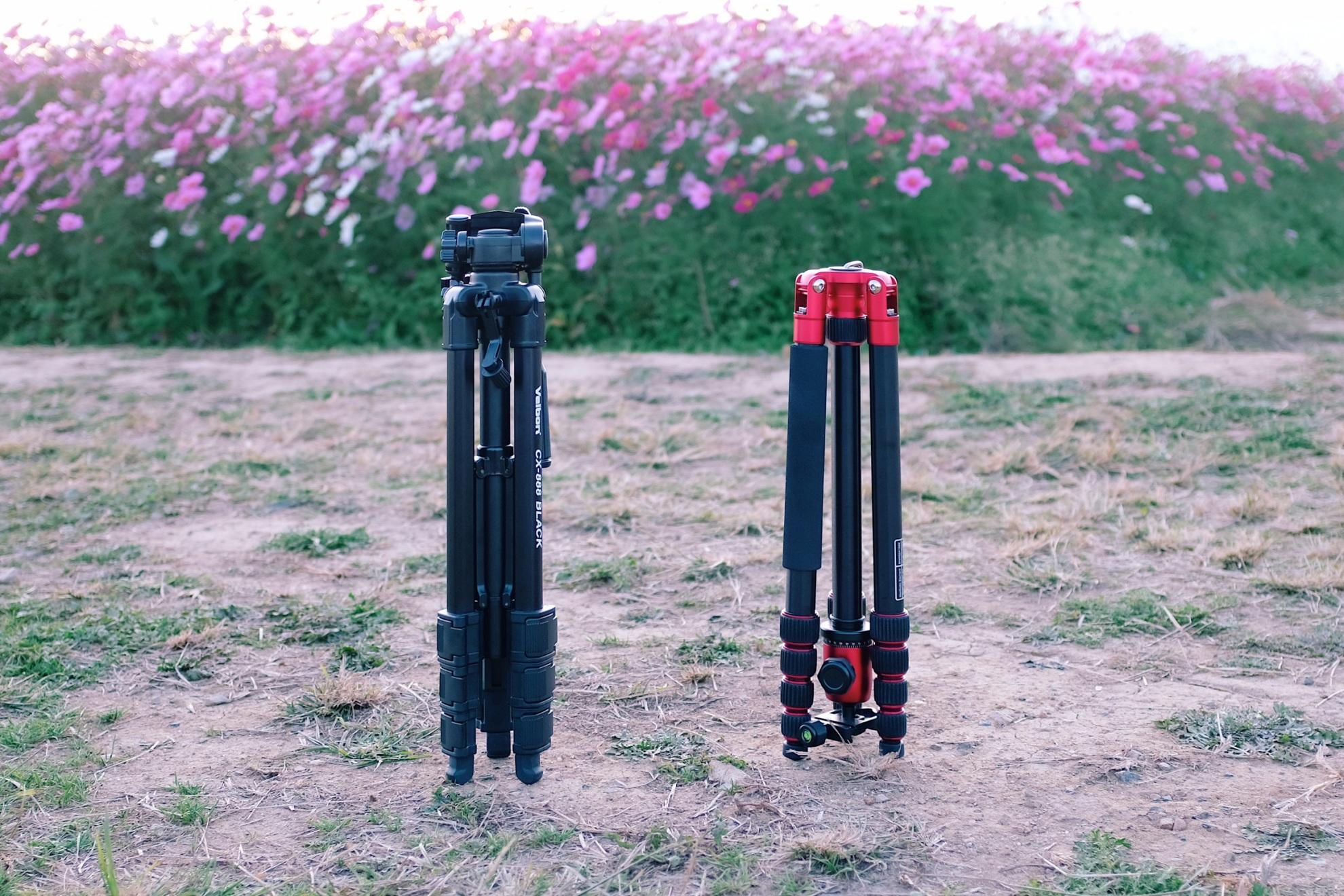 VELBON CX-888とManfrotto Element Bigの大きさ比較